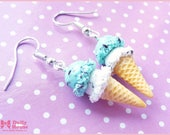 Ice Cream Earrings in Mint Chocolate Chip and Vanilla Chocolate Chip  // Miniature Food Earrings // by Dolly House