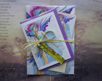 Blue Faerie Notebook, Handmade Bookmark amd Card Gift Set