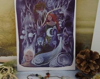 The Silver Wheel ~ Arianrhod Small Art Print