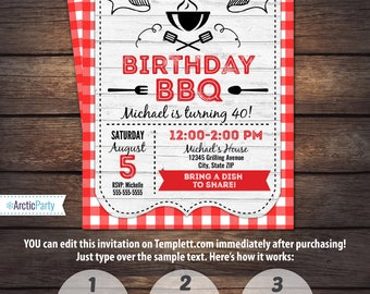 BBQ Invitations - BBQ Birthday - BBQ Party Invitations - Barbecue Party - Instant Access to files! Edit Now with Templett.com - ArcticParty