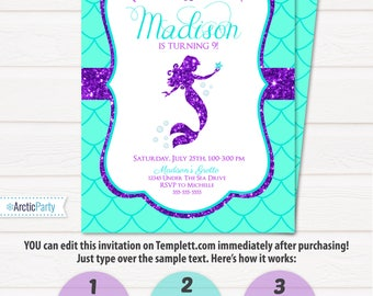 Mermaid Invitations - Mermaid Party Invitation - Mermaid Birthday Invitations - INSTANT ACCESS - Edit at home NOW with Templett.com