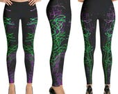 "Black Purple & Green Leggings ""Bright Night"""