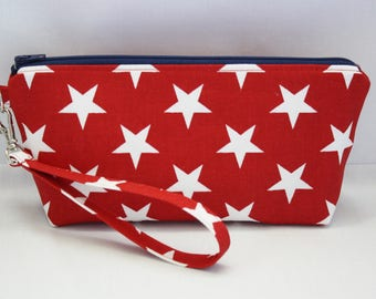 July 4th Wristlet Clutch with Detachable Strap and Flat Bottom Gusset in Red and White Stars Canvas with Red White and Blue Stars Lining