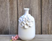 Tall Ceramic White Vase with Floral Motif