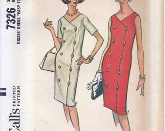 "1960s McCall's 7326 Misses' Dress ""Easy to Sew"" Sewing Pattern UNCUT"