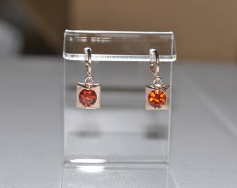 Earrings Rose Gold Dangle Red Crystal Circle Square Textured Rhinestone #C07a