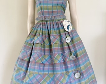 GORGEOUS Deadstock 50's 60's  Plaid  Cotton Party Dress / Rockabilly  / Small