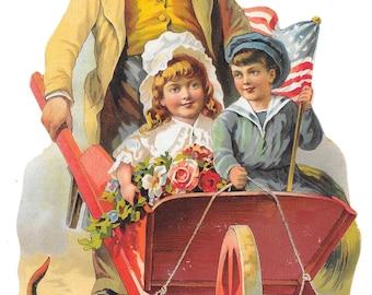 Large A&P Wheelbarrow Die Cut, 1884