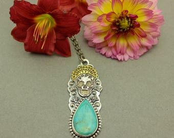 Sugar Skull Pendant Necklace Turquoise Silver and 22k Gold Day of the Dead Necklace
