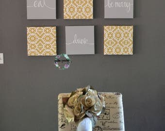 Eat Drink Be Merry Wall Decor Gray Mustard Yellow Wall Art Set Canvas Wall  Hangings Dining