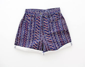 Vintage Shorts // Blue Patterned Jean High Waist Shorts