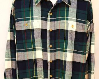 Vintage Mens Plaid Flannel Shirt by Arrow Sport XL Acrylic Blue Green Long Sleeve Button Down Trucker Grunge Clothing