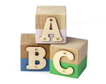 Nursery Letter Block / Painted Letter Block for Babies, Kids, Chalk Paint Blocks Cute Nursery Decor