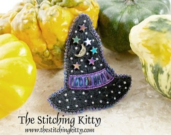 BONUS SPECIAL - Kit makes 2  - Hand-Embroidered Moon and Stars Witch Hat Brooch, Ornament or Magnet