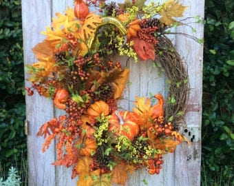 Large Fall Wreath,Fall Pumpkin wreath, Deluxe Fall wreath,fall Wreath,autumn Wreath, Pumpkin Wreath,Thanksgiving Wreath, Rustic Fall Wreath