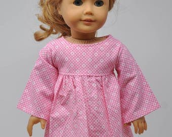 Pink and White Dress with Bell Sleeves 18 Inch Doll Clothes