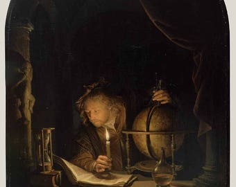 """Gerrit Dou : """"Astronomer by Candlelight"""" (1655-1659) - Giclee Fine Art Print"""
