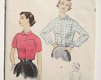 Vintage 50s Blouse with Peter Pan Collar.  Easy Vogue Sewing Pattern 8215 Size 16,  Bust 34""