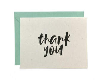 NEW | Hand Lettered Thank You Card, Recycled Thank You Card, Thanks Card, Thank You Card