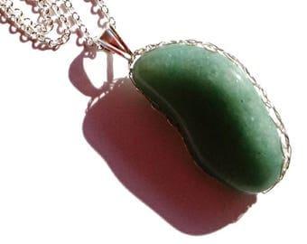 green adventurine pendant / wire crochet jewelry / adventurine silver pendant / French handmade jewelry / sagittarius women / stone pendant