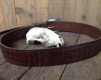 vintage Indian motorcycle belt / vintage tooled leather belt / vintage brown leather belt / biker belt / size 28 leather belt