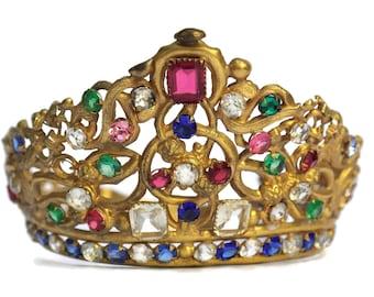 Antique 19th Century Jeweled Crown. Santos Madonna Diadem.