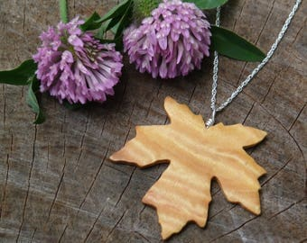 Maple leaf Necklace Pendant, Maple Leaf Jewelry, Wood Necklace, Sterling silver leaf necklace, Nature lover gift, 5th year anniversary gift