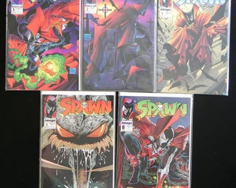 """Vintage Image Comic Books, """"Spawn"""", #1D,2D,3D,4A and 8, May 1992 - Feb. 1993"""