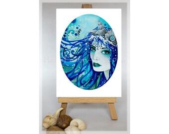 Mermaid Greeting Card, Mermaid Card, Blank Greeting Card, Mermaid Birthday Card, Blue Birthday Card, Mermaid Birthday, Mermaid Art Card
