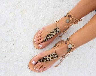 RiRiPoM,Leather, Boho Sandals,Pom Pom Sandals, Greek Sandals, Animal Print Sandals, Tribal Sandals, Boho Chic Sandals, ''Keira''
