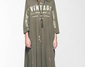 ON SALE Brown Khaki  Maxi Dress  Vintage