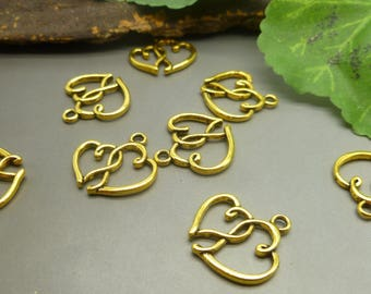 10 Double Hearts Charms - Love Charms - Antique Gold Tone Charms -MC1266
