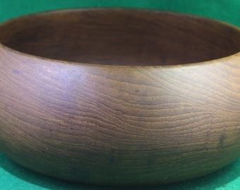 Vintage Hand-turned one piece thin wall wooden bowl .