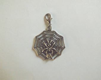 charm clasp charms silver Web with Spider and skull 33 x 31 mm