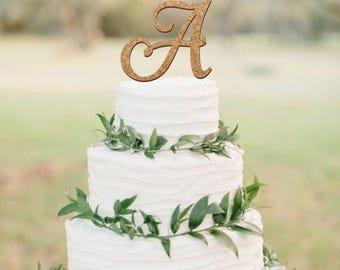 Rustic cake topper, wedding cake topper, cork cake topper, cork monogram topper, vineyard wedding decor, single cork letter cake topper