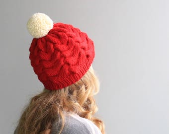 """READY to SHIP - Wool & Acrylic Hat / Big Yarn Pom Pom / Slouchy Beanie / Red and White, Christmas """"Rose Hat"""""""