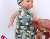 Baby Doll Clothes / Crochet Baby Doll Clothing / Crochet Baby Doll Clothes Set / Crochet Baby Doll Overalls Hat Booties / 13-14 inch Size
