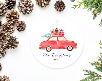 Personalized Ornament, Family Christmas Ornament, Watercolor Car with Tree and Presents