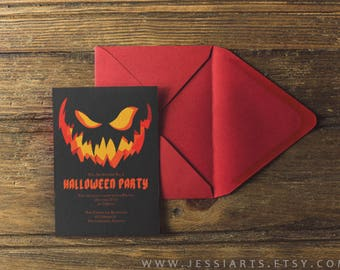 Jack-o-Lantern Invitation Template Download - Printable Halloween Party Invitation - Customizable Halloween Party Invite