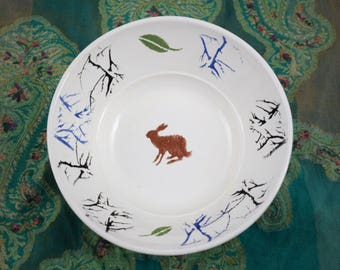 Handpainted Handmade Gifts - Decorative bowl - Ceramic Fruit bowl - The Sitting Brown Hare - Decorative bowl - Serving bowl