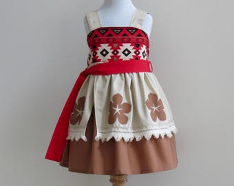 Moana Inspired Dress. Polynesian/ Hawaiian Princess Costume. Everyday Princess Dress for Girl Sizes 1-8