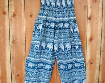 Blue Green with White Elephant Harem Pants with Two Side Pockets // Elastic Waist and Ankles // 100% Cotton // One Size Fits Most