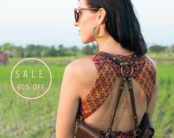 Leather holster / utility bag / fringe bag / burning man costumes / coachella outfits / festival clothing / brown leather bag
