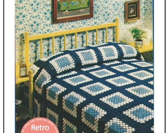 Granny Square Bed Cover 1970s Vintage Crochet Pattern  - PDF Crochet Pattern -PDF Instant Download