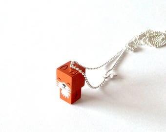 "Collier chaîne bille pendentif figurine cubique ""Renard"""