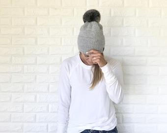 Double Brim Knit Beanie Hat with Black Faux Fur Pom Pom | Grey | THE BERRETTO