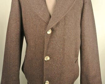 Pendleton Solid Brown 100% Wool Three Button Overcoat Men's Size: 44 (XL)
