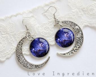 Moon dangle earrings, crescent moon earrings, Moon drop earrings, Galaxy earrings, silver dangle earrings, blue earrings, EM003