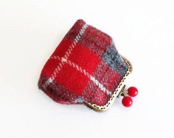 Harris Tweed Coin Purse, Red Tartan Metal Frame Purse