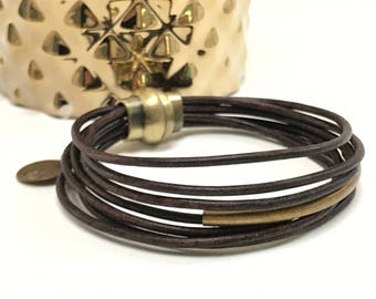 Personalized Chocolate Multi Strand Leather Bracelet, Antique Brass Ball Clasp, Leather Bangle, Initial, Bracelet,  Women's Leather Bracelet